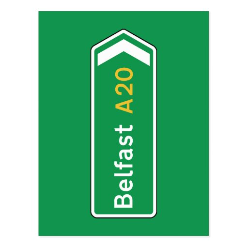 Belfast, señal de tráfico BRITÁNICA Postal