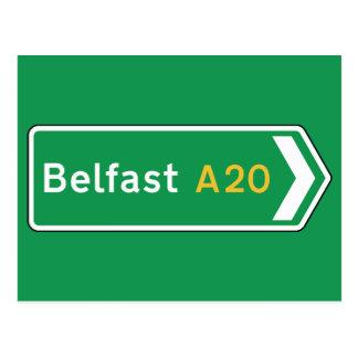 Belfast, señal de tráfico BRITÁNICA Postales