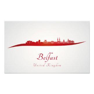 Belfast skyline in red cojinete