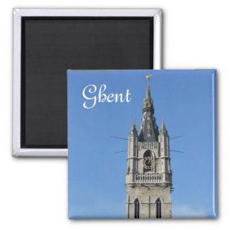 Belfry in Ghent, Belgium 2 Inch Square Magnet