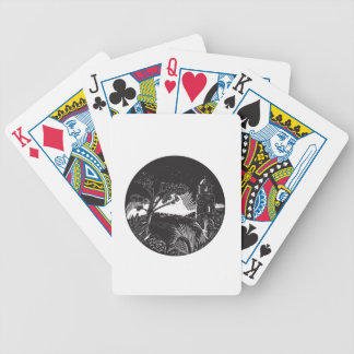 Belfry Tower On Hill Trees Circle Woodcut Bicycle Playing Cards