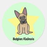 Belga Malinois de la estrella de Kawaii Pegatina Redonda