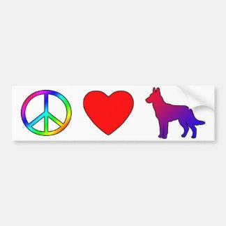 Belga Malinois del amor de la paz Etiqueta De Parachoque