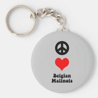 Belga Malinois del amor de la paz Llavero Redondo Tipo Pin