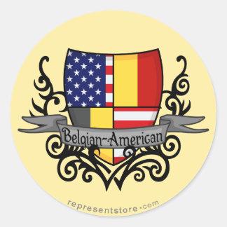 Belgian-American Shield Flag Classic Round Sticker