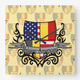 Belgian-American Shield Flag Square Wall Clock