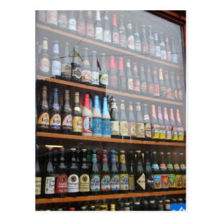 Belgian Beer Display in Ghent shop window Postcard