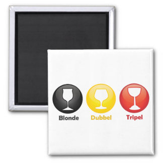 Belgian Beer Icons 2 Inch Square Magnet