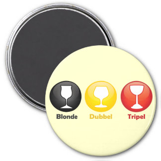 Belgian Beer Icons 3 Inch Round Magnet