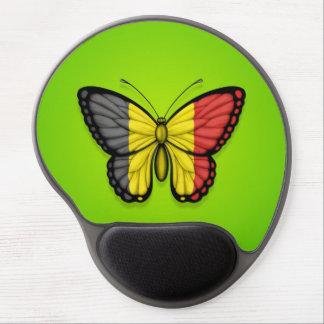 Belgian Butterfly Flag on Green Gel Mousepads
