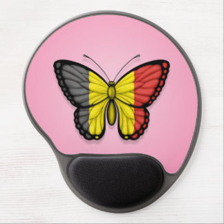 Belgian Butterfly Flag on Pink Gel Mouse Pads