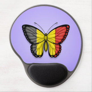Belgian Butterfly Flag on Purple Gel Mousepads