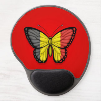 Belgian Butterfly Flag on Red Gel Mouse Mats