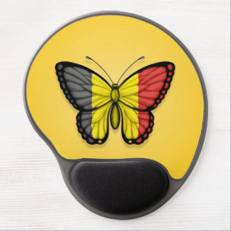 Belgian Butterfly Flag on Yellow Gel Mouse Mat
