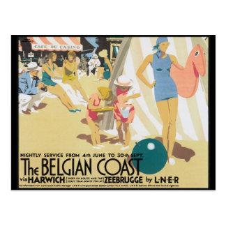 Belgian Coast Vintage Travel Poster Art Postcard