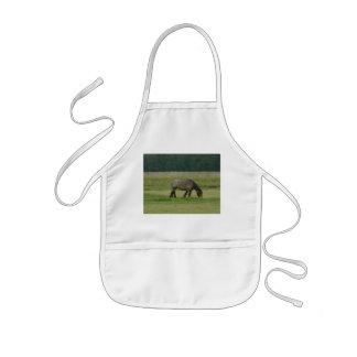 Belgian Draft Horse-brown/grey grazing Kids' Apron