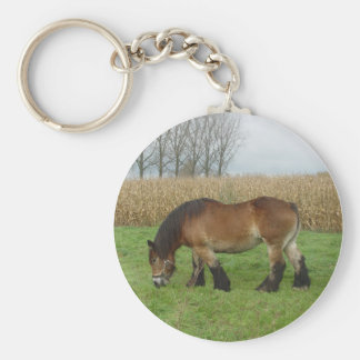 Belgian Draft Horse-brown with black mane Keychain