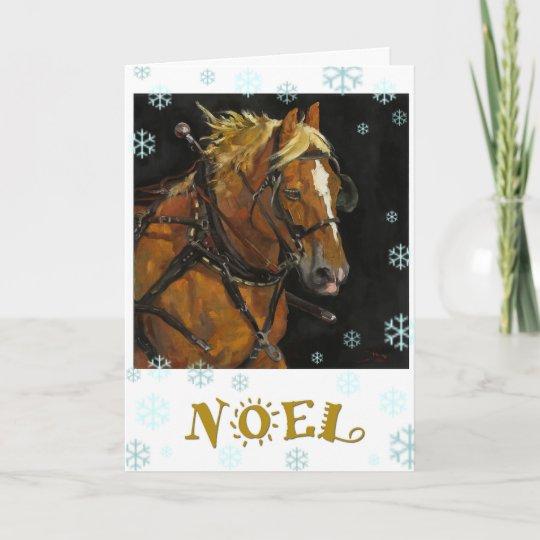 belgian draft horse holiday card  zazzle