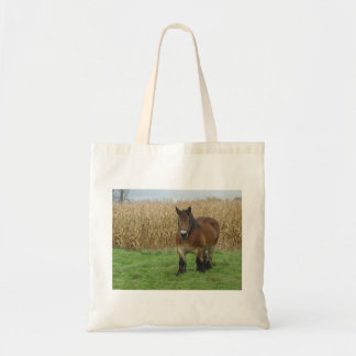 Belgian Draft Horse-in front of a corn field Tote Bag