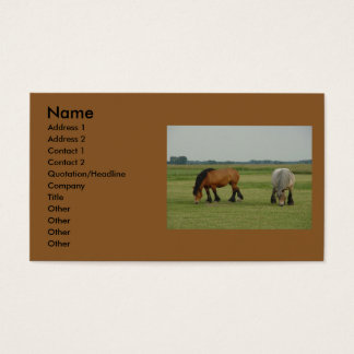 Belgian Draft Horse-one grey, one brown Business Card