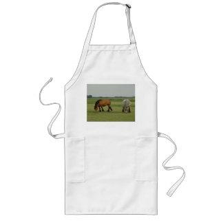 Belgian Draft Horse-one grey, one brown Long Apron