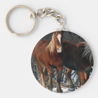 Belgian Draft Horses Keychain