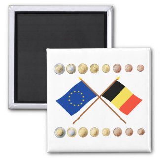 Belgian Euros and EU & Belgium Flags Magnet