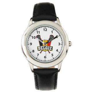 Belgian Flag Lacrosse Logo Wrist Watch