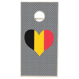 Belgian Flag on a cloudy background Cornhole Sets