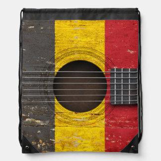 Belgian Flag on Old Acoustic Guitar Drawstring Backpack