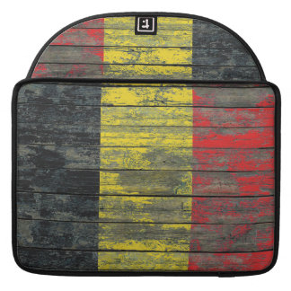 Belgian Flag on Rough Wood Boards Effect Sleeve For MacBook Pro