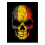Belgian Flag Skull on Black Postcard