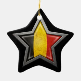 Belgian Flag Star on Black Christmas Tree Ornament