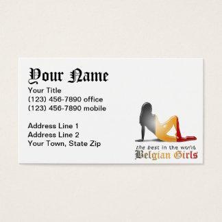Belgian Girl Silhouette Flag Business Card