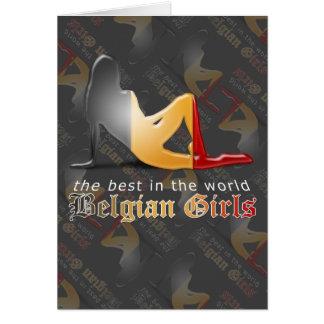 Belgian Girl Silhouette Flag Card