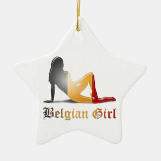 Belgian Girl Silhouette Flag Ceramic Ornament