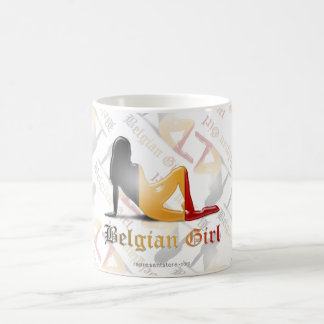 Belgian Girl Silhouette Flag Coffee Mug