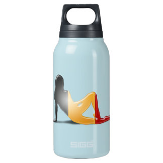 Belgian Girl Silhouette Flag Insulated Water Bottle