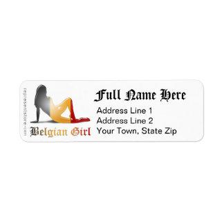 Belgian Girl Silhouette Flag Label