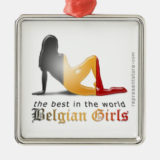Belgian Girl Silhouette Flag Metal Ornament
