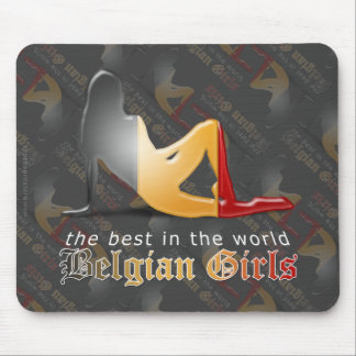 Belgian Girl Silhouette Flag Mouse Pad