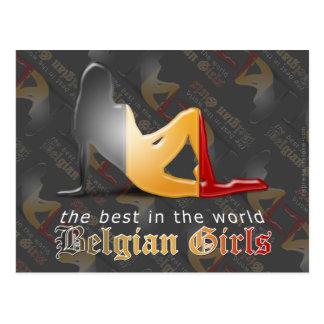 Belgian Girl Silhouette Flag Postcard
