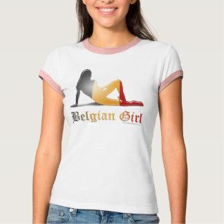 Belgian Girl Silhouette Flag T-Shirt