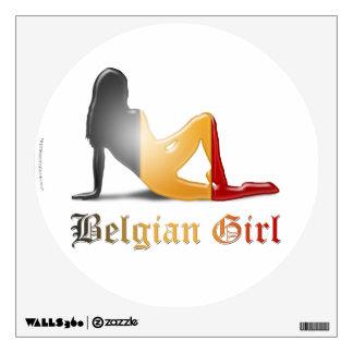 Belgian Girl Silhouette Flag Wall Decal