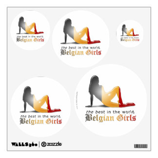 Belgian Girl Silhouette Flag Wall Sticker