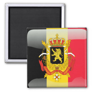 Belgian glossy flag 2 inch square magnet