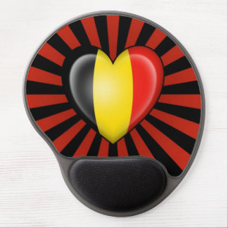 Belgian Heart Flag with Star Burst Gel Mouse Pads