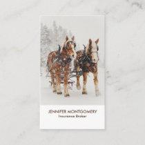Belgian Horse Team Wintery Christmas Scene Business Card
