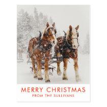 Belgian Horse Team Wintery Christmas Scene Postcard