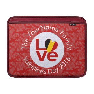 Belgian LOVE White on Red Sleeves For MacBook Air
